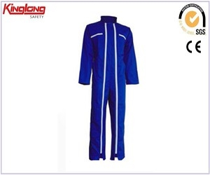 Fashion design two long zippers deep blue coverall, long sleeves advanced material coverall