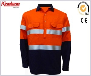 High visibility two tone long sleeves functional shirt, chest pockets male mining working shrt