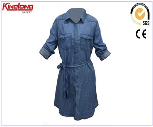 New style ladies denim dress supplier,China garments manufacturer long shirt