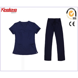 China 100% Cotton Medical Scrubs Design with V-Neck factory