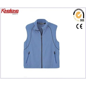 China High quality fashion design no sleeve blue vest, winter warm polar fleece jacket with pockets factory