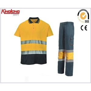 China High visbility shirts and pants summer workwear uniforms,100% cotton comfortable wear working suits factory